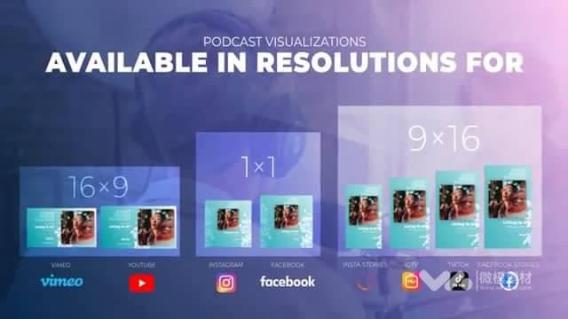 含3种比例 社交主页时尚音频播放器动画设计AE模板